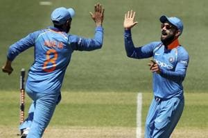 Ravindra Jadeja, left, and Virat Kohli celebrate the wicket of Australia