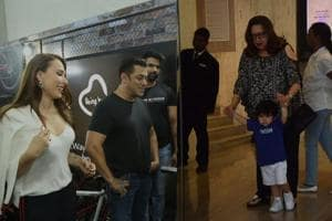 Salman Khan takes on fitness challenge and Taimur at a party.