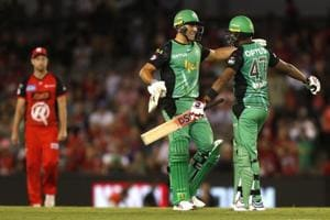 Marcus Stoinis (left) starred as Melbourne Stars defeated Melbourne Renegades by 6 wickets in their BBL clash.