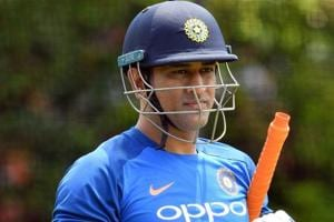 MS Dhoni gets ready to bat during a training session at the Sydney Cricket Ground in Sydney.