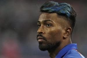 Hardik Pandya looks on during the fourth One-Day International match between South Africa and India.