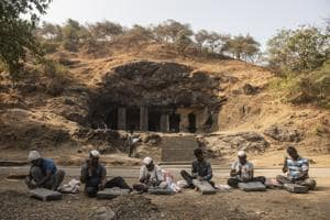 Wadar workers reshape stone blocks at the Elephanta Caves, a Unesco world heritage site in Maharashtra. 'It is a matter of prestige for us that we are being roped in to work on such a site.' says Tukaram Pawar, 56.