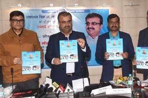 Bihar Health Minister Mangal Pandey is releasing 16 months achievements book of his department at State Health Society in Patna