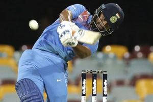 Rishabh Pant plays a shot during the first T20 International match between Australia and India in Brisbane.