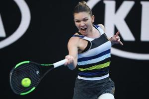 Simona Halep in action during her match against Venus Williams.