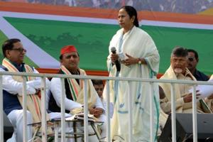 West Bengal Chief Minister Mamata Banerjee with Opposition leaders at TMC led