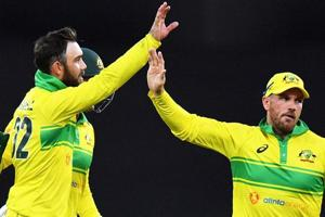 File image of Glenn Maxwell celebrating with Aaron Finch after the fall of a wicket.
