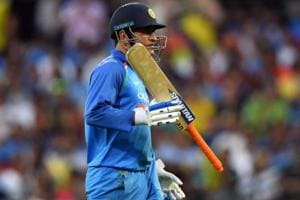 MSDhoni in action during the third ODI encounter against Australia.