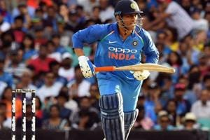 MS Dhoni in action during the India vs Australia ODI series.
