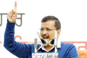 Delhi chief minister Arvind Kejriwal speaks during a rally in the presence of other AAP leaders, at Grain Market, in Barnala, Punjab, on January 20.