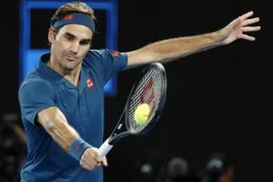 Switzerland's Roger Federer in action during the match against Greece's Stefanos Tsitsipas.