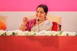 Varanasi: External Affairs Minister Sushma Swaraj, Uttar Pradesh Chief Minister Yogi Adityanath and others during the inauguration ceremony of 15th edition of the Pravasi Bhartiya Divas (PBD) at Deen Dayal Trade Facilitation Centre, in Varanasi, Monday, Jan. 21, 2019. (MEA Photo via PTI).