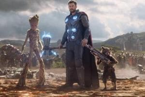 Rocket Raccoon, Thor and Groot in a still from Avengers: Infinity War.