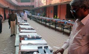 Electronic voting machines being checked ahead of polls in India. A US-based India 'cyber expert' alleged in a press conference, via Skype, in London that the EVMs were manipulated to ensure a BJP victory in the 2014 Lok Sabha polls (File Photo)