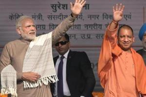 Prime Minister Narendra Modi with Uttar Pradesh chief minister Yogi Adityanath.