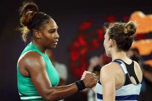 Serena Williams and Simona Halep shake hands after their Australian Open match.