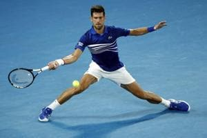 Novak Djokovic in action during the Australian Open match against Russia