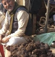 A trader who purchases human hair from small hawkers in a UP district.