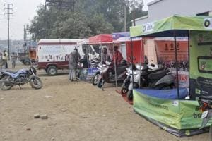 Stalls put up by companies at a job fair in Ludhiana wore a deserted look,  on Monday, January 21, 2019.