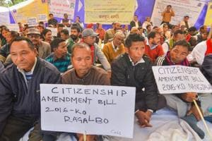 Assam Sahitya Sabha members protest against the Citizenship Amendment Bill 2016, in Guwahati  on January 19.