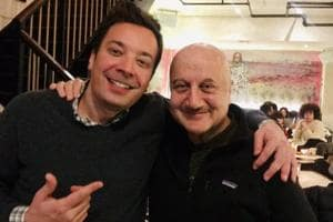 Anupam Kher poses with Jimmy Fallon in New York.
