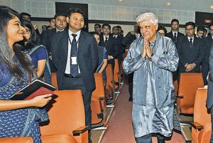 Javed Akhtar (right) at Symbiosis Institute of Management Studies, Range Hills.