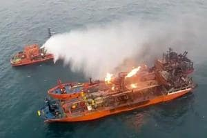 In this video grab provided by Russia Emergency Situations Ministry press service, a Russia Emergency Situations Ministry ship works to extinguish a fire on the two vessels, the Maestro and the Candiy, near the Kerch Strait linking the Black Sea and the Sea of Azov, Crimea on January 22.