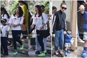 Aishwara Rai was seen with her daughter Aaradhya while Karisma Kapoor was seen with her nephew Taimur.