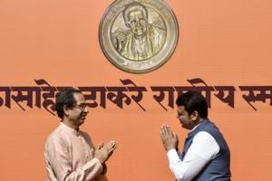 Maharashtra CM Devendra Fadnavis (right) greets Shiv Sena Chief Uddhav Thackeray at an event in Dadar, on Wednesday.