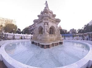 The fountain had been inaugurated on Thursday, after two years of restoration