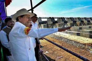 Telangana Chief Minister K Chandrasekhar Rao inspects Annaram barrages under Kaleshwaram Project lift irrigation scheme, Bhoopalpally.