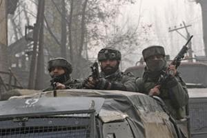 Army soldiers seen near the site of encounter in Chattergam, Budgam district, central Kashmir, India. Image for representation.
