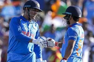 MS Dhoni and Kedar Jadhav of India react during the second one day international between India and New Zealand.
