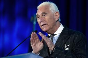 Roger Stone speaks at the American Priority Conference in Washington. Stone, an associate of President Donald Trump, has been arrested in Florida.