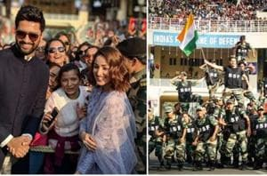 Vicky Kaushal, Yami Gautam and Varun Dhawan at Wagah border on Republic Day.