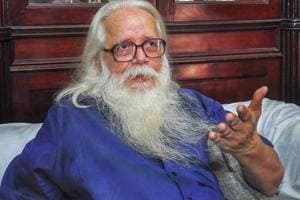 "Former ISRO scientist Nambi Narayanan speaking to media after the Supreme Court held that he was ""arrested unnecessarily, harassed and subjected to mental cruelty"" in a 1994 espionage case and ordered a probe into the role of Kerala police officers. (File Photo)"