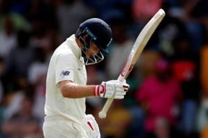 England captain Joe Root looks dejected after being caught out in the first Test against West Indies in Barbados.