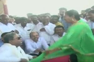 The incident took place at a public meeting in Varuna, the constituency of Siddaramaiah's son.