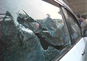 Vehicles parked near BJPpresident Amit Shah's rally venue in East Midnapore were vandalised during the public event on Tuesday.