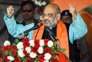 Niutao: Bharatiya Janata Party (BJP) National President Amit Shah addresses his booth-level party workers conference at Kulia, in Niutao district, Tuesday, Jan. 29, 2019. (PTI Photo)(PTI1_29_2019_000071B)