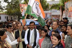 Bihar Congress Incharge Shakti Singh Gohil with state president Madan Mohan Jha are giving flag off rath for party's Jan Akanksha Rally at the campus of Sadaquat Ashram in Patna. Bihar India on Monday.