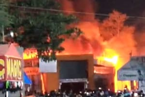 Hundreds of shops were gutted in a major fire at the All India Industrial Exhibition being held at the Exhibition Grounds at Nampally in Hyderabad on Wednesday night.