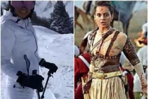 A new clip online shows Kangana Ranaut skiing in Alps. (Right) In a  shot from Manikarnika.