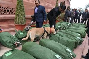 Sniffer dogs check Budget 2019 papers on Parliament House premises in New Delhi on Friday.