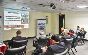 Businessmen from Pune watch the budget session screened at Mahratta Chamber of Commerce, Industries and Agriculture (MCCIA) on Friday.