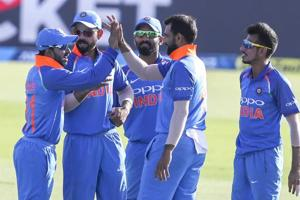 File image of cricketers of Indian cricket team celebrating the fall of a wicket.