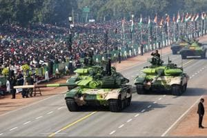 Indian Army T-90 (Bhishma) tanks move along the Rajpath during the Republic Day parade in New Delhi, India, on January 26.