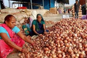 Women workers sort onions at a wholesale vegetable market in Bhopal.