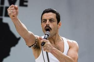 This image released by Twentieth Century Fox shows Rami Malek in a scene from Bohemian Rhapsody.