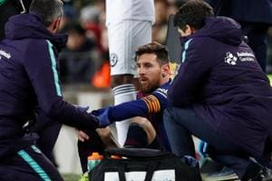 The injury appeared to happen when Lionel Messi was hit in the leg by Valencia defender Antonio Lato while they challenged for a ball in the second half on Saturday.